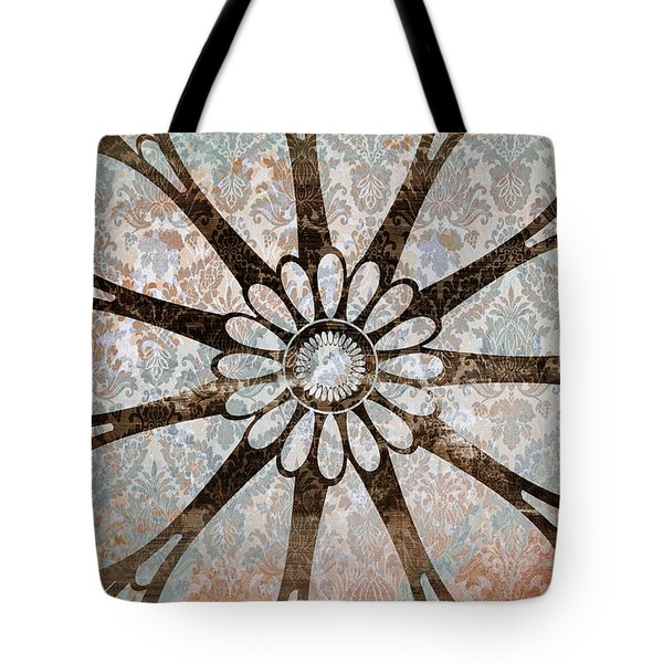 Vintage Damask Floral Abstract Tote Bag by Frank Tschakert