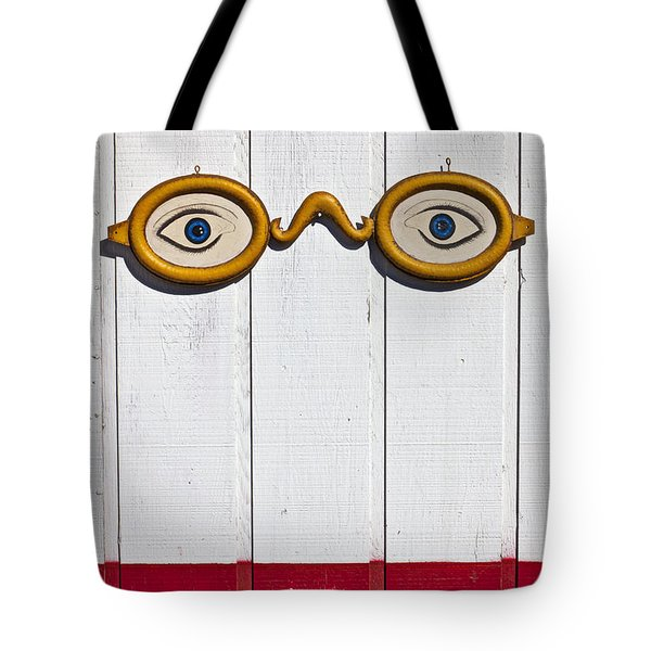 Vintage Eye Sign On Wooden Wall Tote Bag by Garry Gay