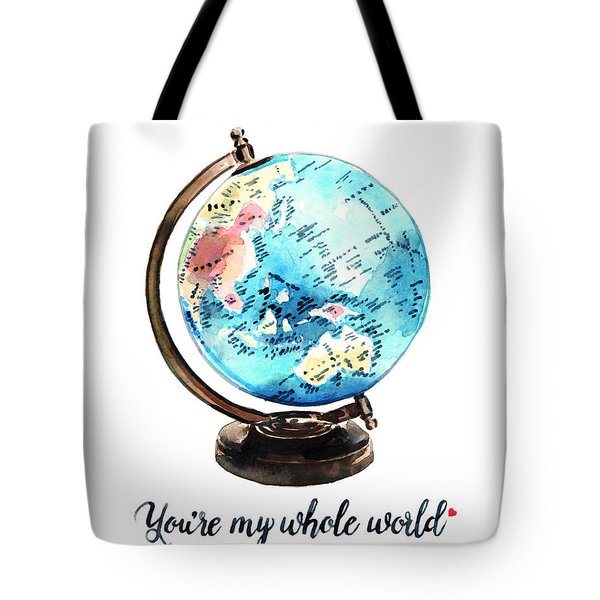Vintage Globe Love You're My Whole World Tote Bag by Laura Row