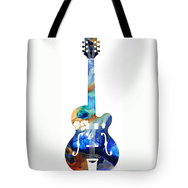 Vintage Guitar - Colorful Abstract Musical Instrument Tote Bag by Sharon Cummings