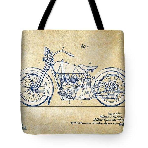 Vintage Harley-davidson Motorcycle 1928 Patent Artwork Tote Bag by Nikki Smith