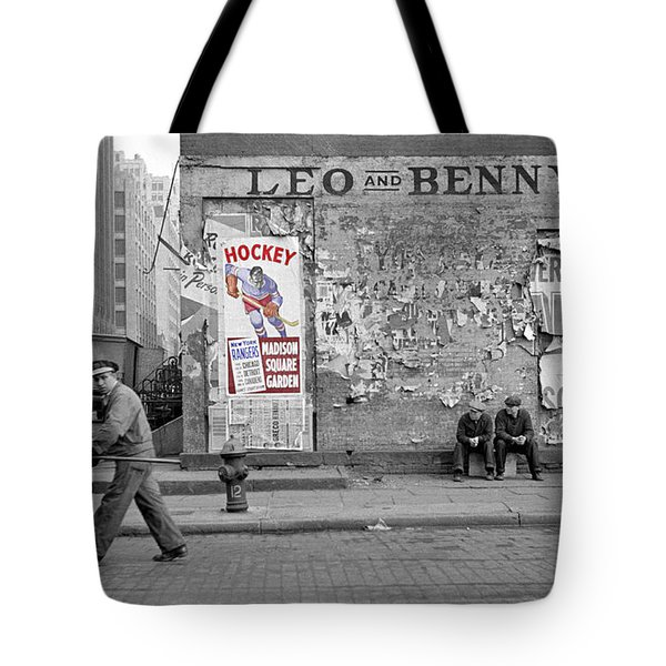 Vintage Hockey Poster Tote Bag by Andrew Fare