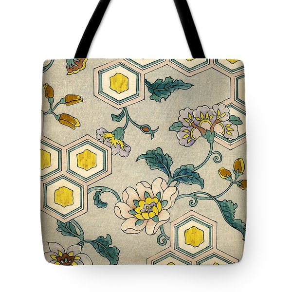 Vintage Japanese Illustration Of Blossoms On A Honeycomb Background Tote Bag by Japanese School