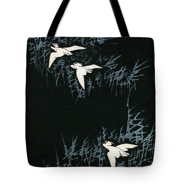 Vintage Japanese Illustration Of Three Cranes Flying In A Night Landscape Tote Bag by Japanese School