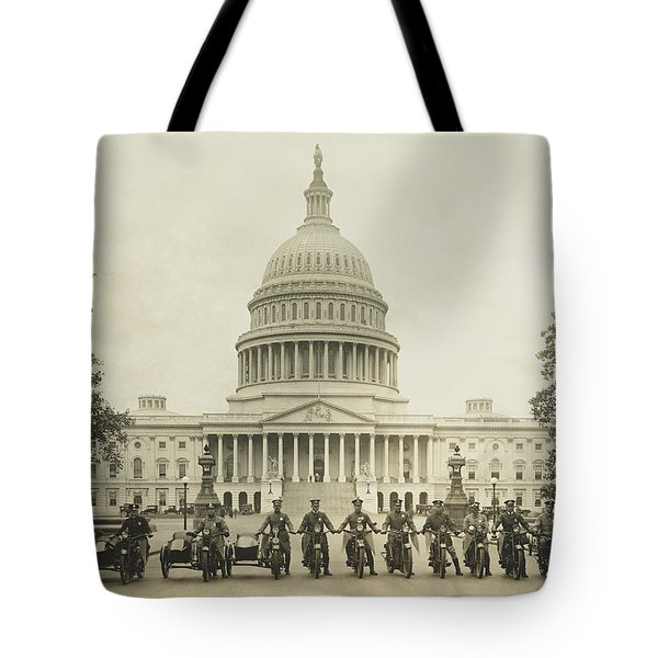 Vintage Motorcycle Police - Washington Dc  Tote Bag by War Is Hell Store