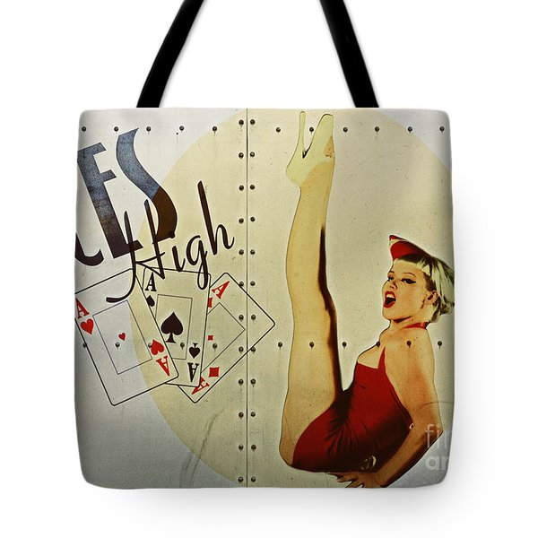 Vintage Nose Art Aces High Tote Bag by Cinema Photography