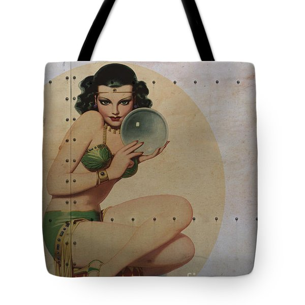 Vintage Nose Art Mystic Marla Tote Bag by Cinema Photography
