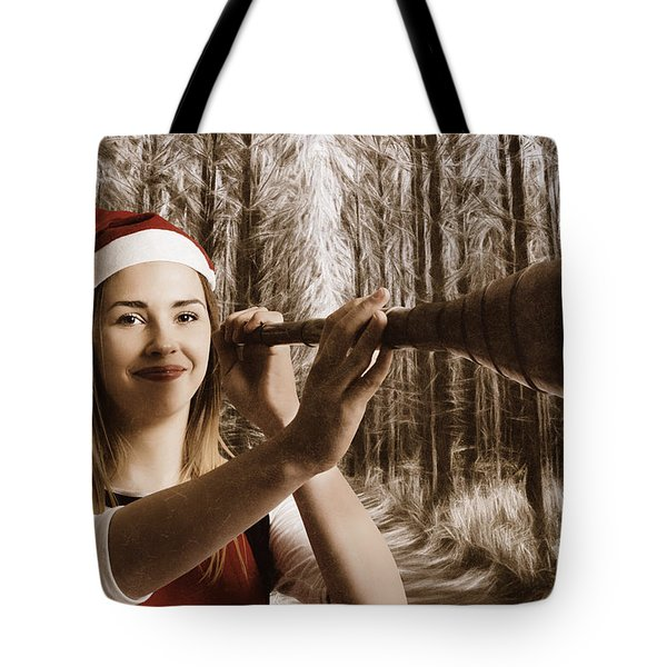 Vintage Santa Elf Searching For Christmas Fun Tote Bag by Jorgo Photography - Wall Art Gallery