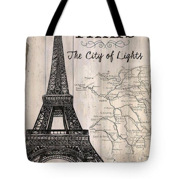 Vintage Travel Poster Paris Tote Bag by Debbie DeWitt