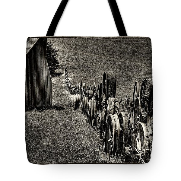 Vintage Wheel Fence Tote Bag by David Patterson