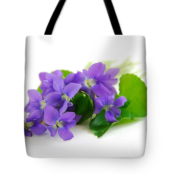 Violets on white background Tote Bag by Elena Elisseeva