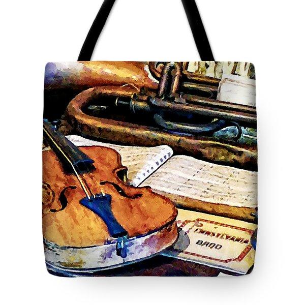 Violin And Bugle Tote Bag by Susan Savad