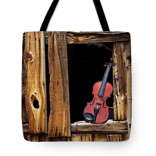Violin In Window Tote Bag by Garry Gay