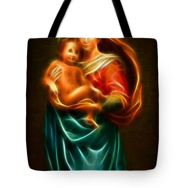 Virgin Mary And Baby Jesus Tote Bag by Pamela Johnson