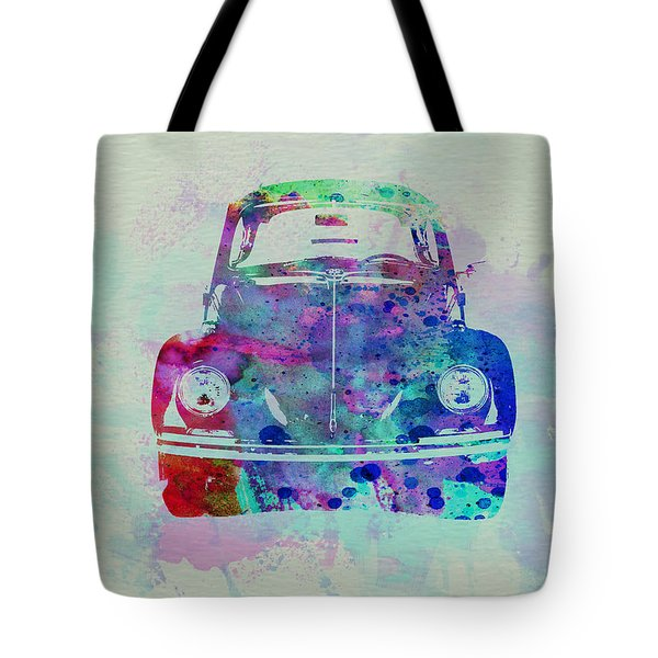 Vw Beetle Watercolor 2 Tote Bag by Naxart Studio