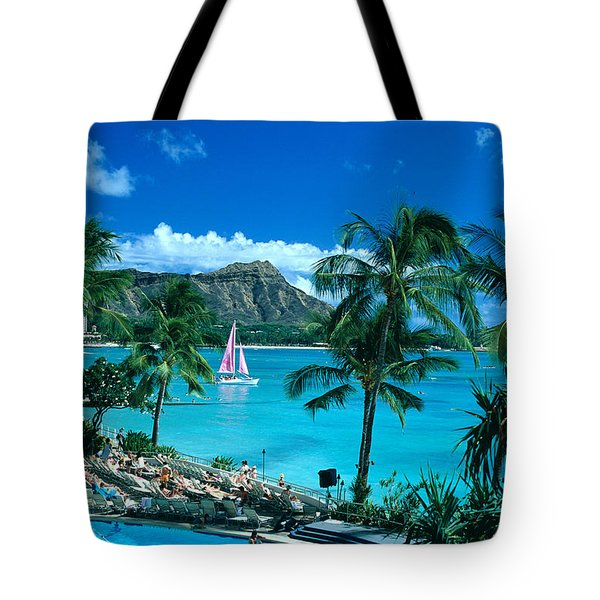 Waikiki And Sailboat Tote Bag by Tomas del Amo - Printscapes
