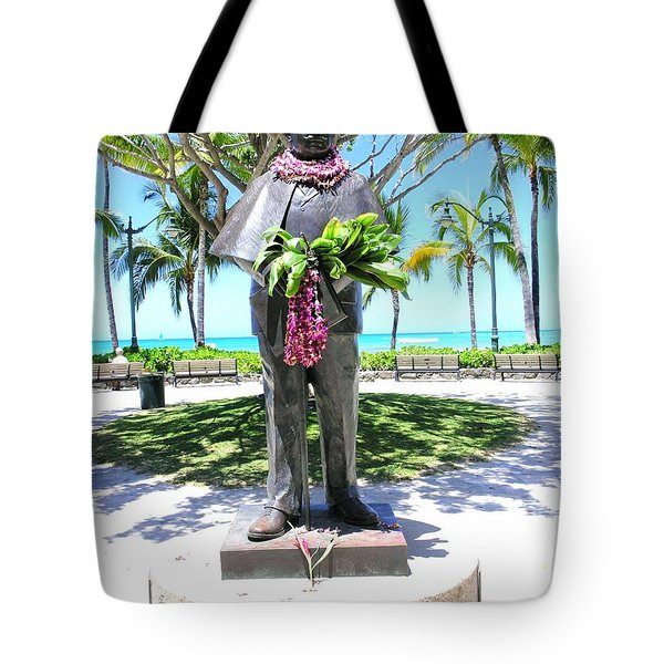 Waikiki Statue - Prince Kuhio Tote Bag by Mary Deal