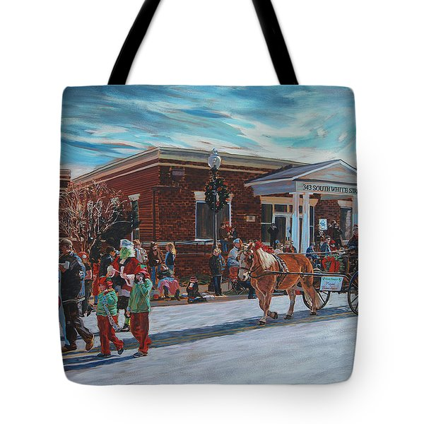 Wake Forest Christmas Parade Tote Bag by Tommy Midyette