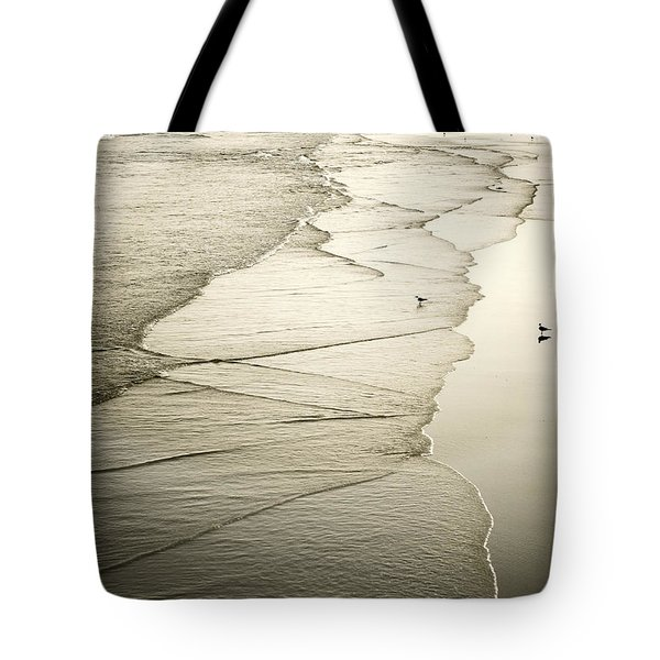 Walking Along The Beach At Sunrise Tote Bag by Marilyn Hunt