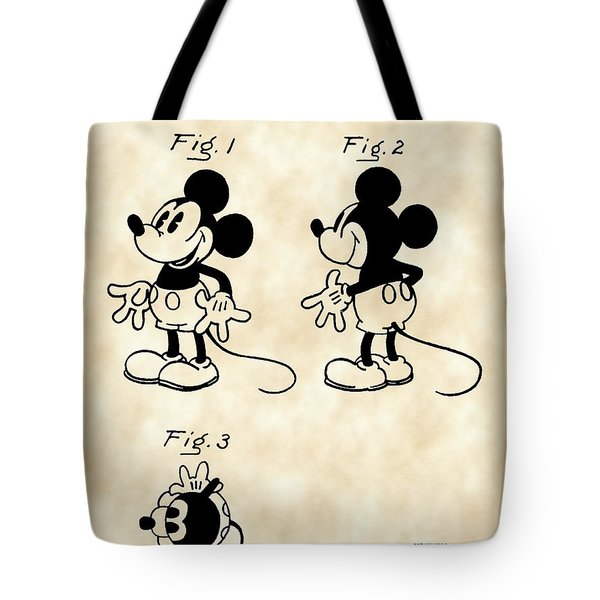 Walt Disney Mickey Mouse Patent 1929 - Vintage Tote Bag by Stephen Younts