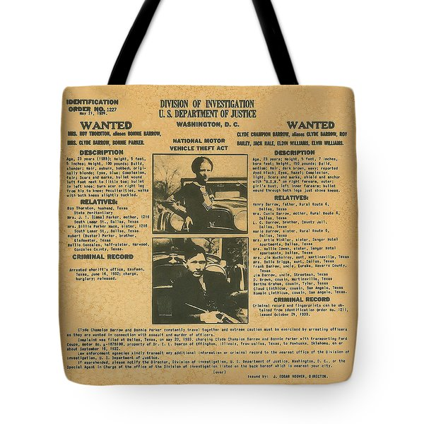 Wanted Poster - Bonnie And Clyde 1934 Tote Bag by F B I