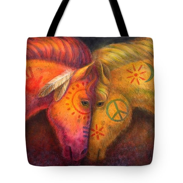 War Horse And Peace Horse Tote Bag by Sue Halstenberg