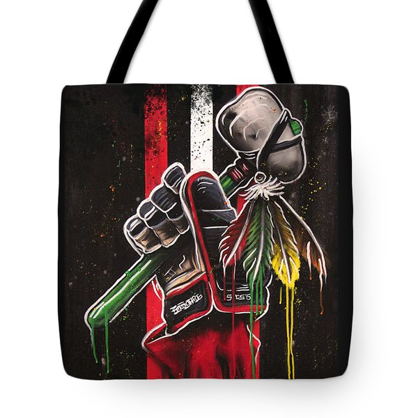 Warrior Glove On Black Tote Bag by Michael Figueroa