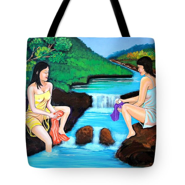 Washing In The River Tote Bag by Cyril Maza