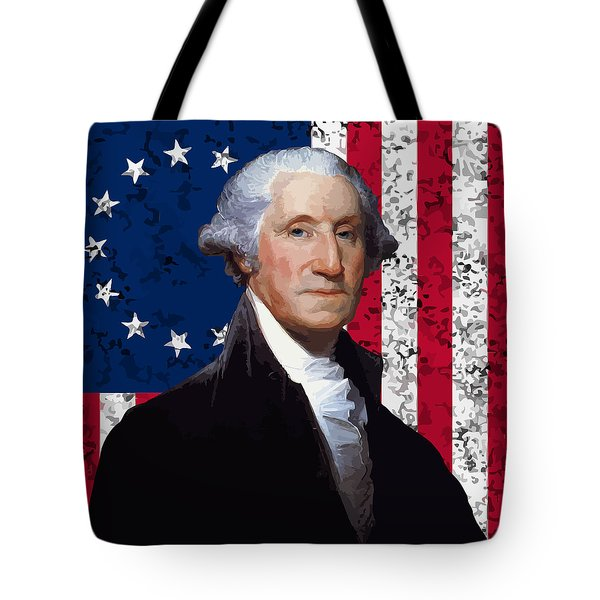 Washington And The American Flag Tote Bag by War Is Hell Store