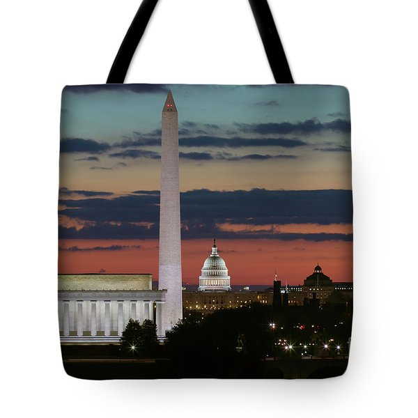Washington Dc Landmarks At Sunrise I Tote Bag by Clarence Holmes