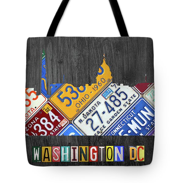 Washington Dc Skyline Recycled Vintage License Plate Art Tote Bag by Design Turnpike