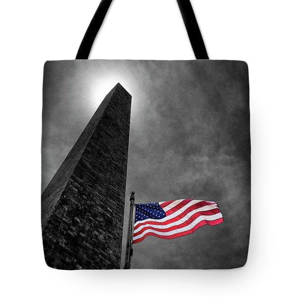 Washington Monument And The Stars And Stripes Tote Bag by Andrew Soundarajan