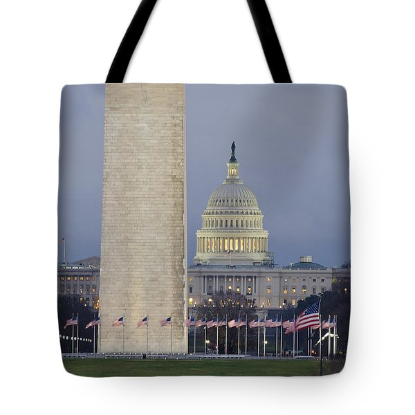 Washington Monument And United States Capitol Buildings - Washington Dc Tote Bag by Brendan Reals