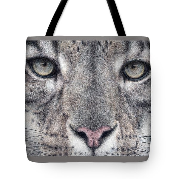 Watching You...snow Leopard Tote Bag by Pat Erickson