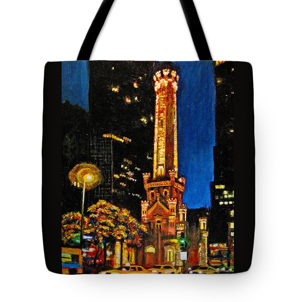 Water Tower At Night Tote Bag by Michael Durst