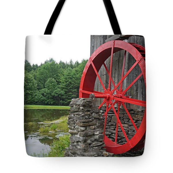 Water Wheel Vermont Tote Bag by Edward Fielding