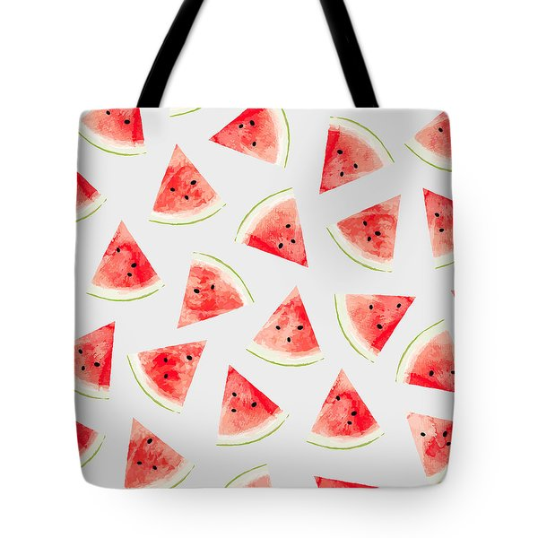 Watercolor Watermelon Pattern Tote Bag by Uma Gokhale