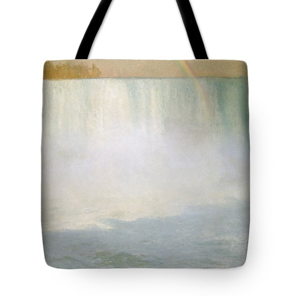 Waterfall And Rainbow At Niagara Falls Tote Bag by Albert Bierstadt