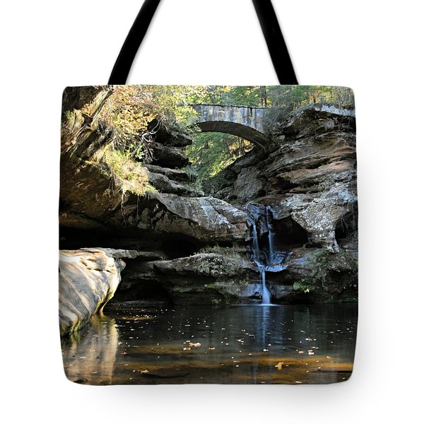 Waterfall at Old Man Cave Tote Bag by Larry Ricker