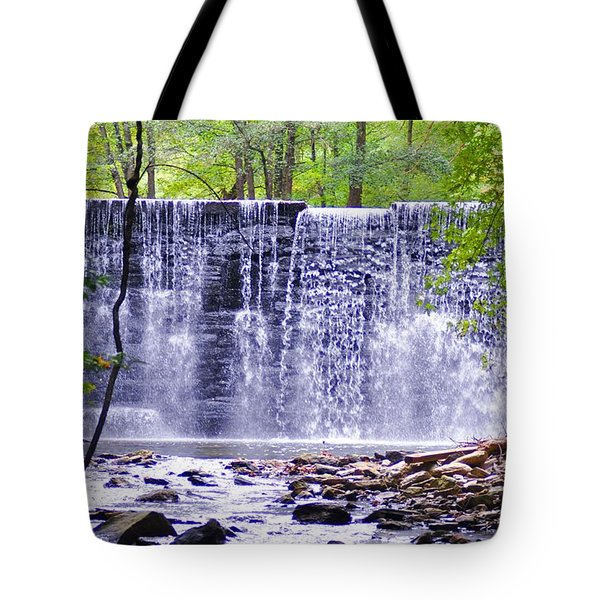 Waterfall In Gladwyne Tote Bag by Bill Cannon