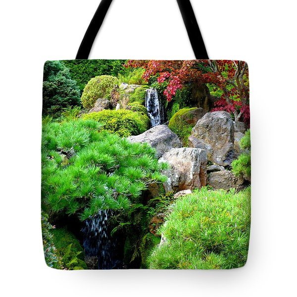 Waterfalls in Japanese Garden Tote Bag by Carol Groenen
