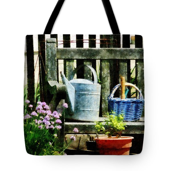Watering Can And Blue Basket Tote Bag by Susan Savad