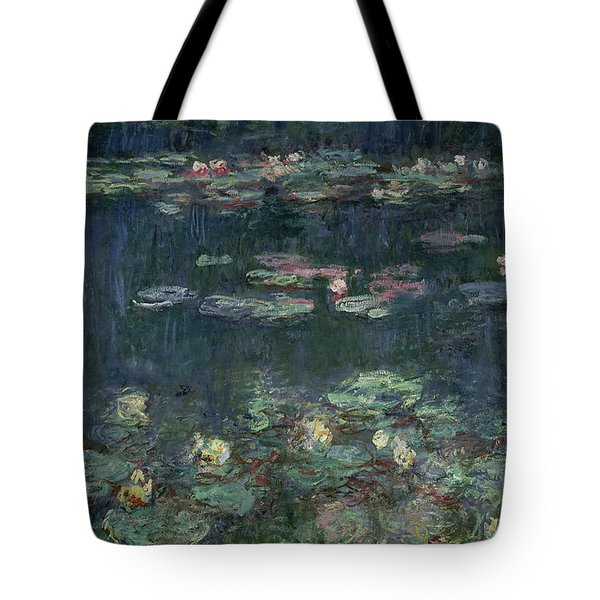 Waterlilies Green Reflections Tote Bag by Claude Monet
