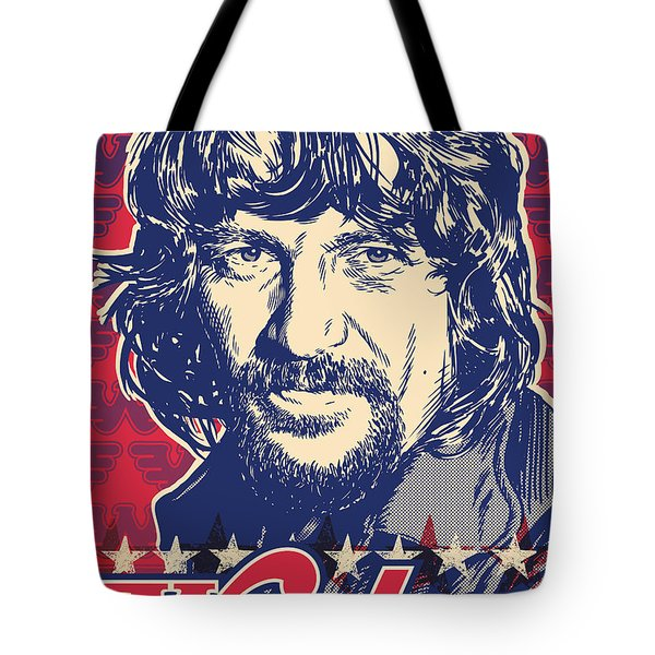 Waylon Jennings Pop Art Tote Bag by Jim Zahniser