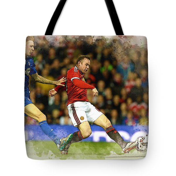 Wayne Rooney Of Manchester United Scores Tote Bag by Don Kuing