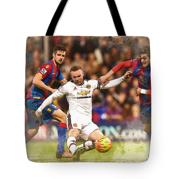 Wayne Rooney Shoots At Goal Tote Bag by Don Kuing