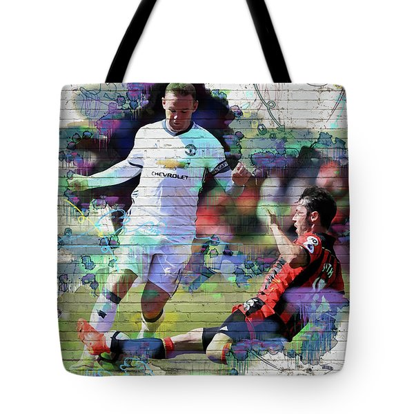 Wayne Rooney Street Art Tote Bag by Don Kuing