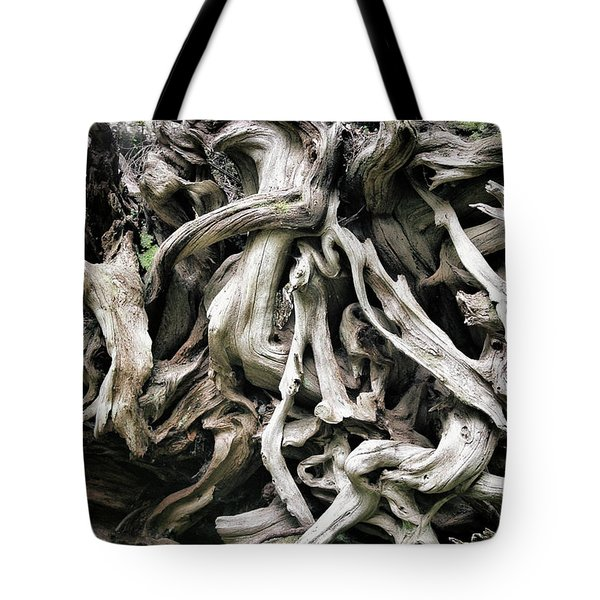 Weathered roots - Sitka Spruce tree Hoh Rain Forest Olympic National Park WA Tote Bag by Christine Till