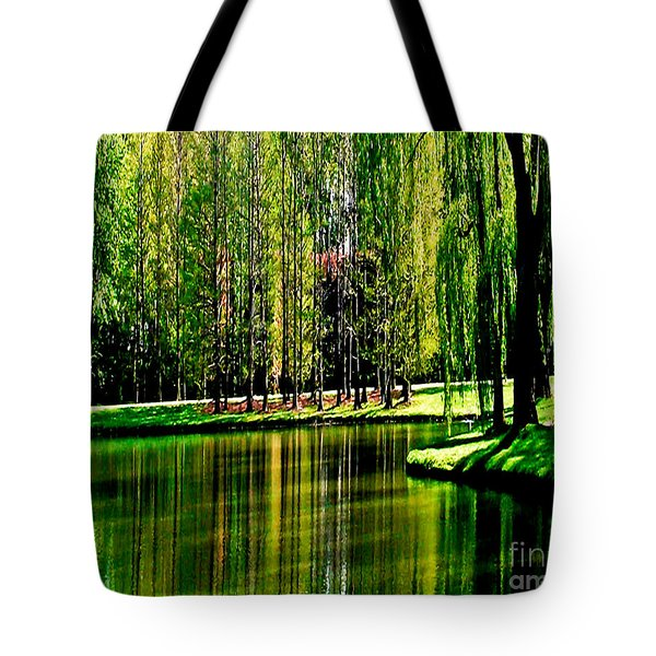 Weeping Willow Tree Reflective Moments Tote Bag by Carol F Austin