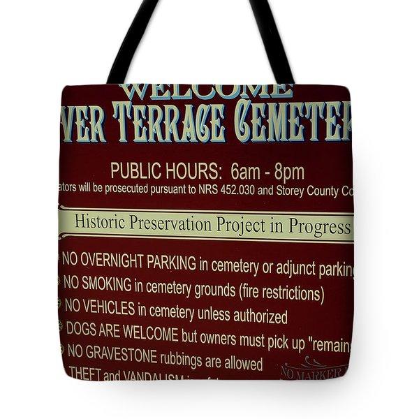 Welcome Silver Terrace Cemeteries Tote Bag by LeeAnn McLaneGoetz McLaneGoetzStudioLLCcom